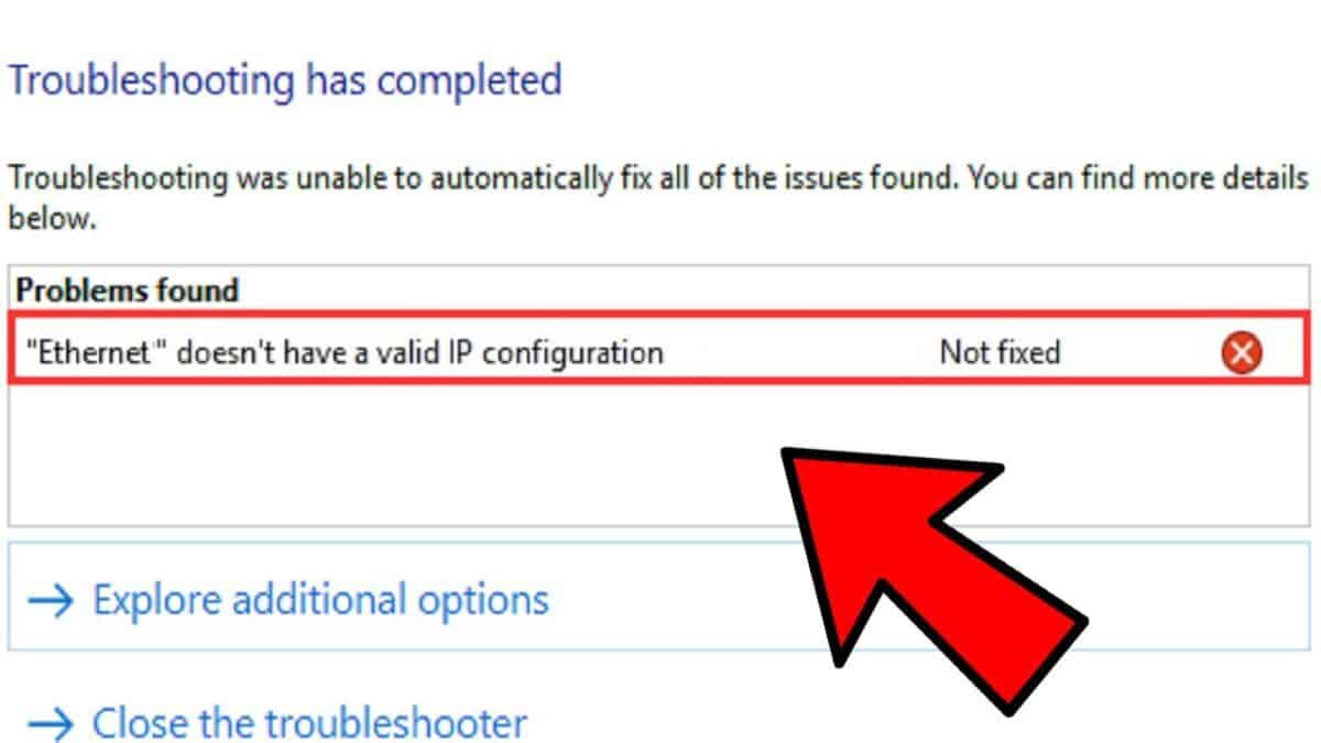 Ethernet Doesn't Have A Valid IP Configuration Windows 10 FIX